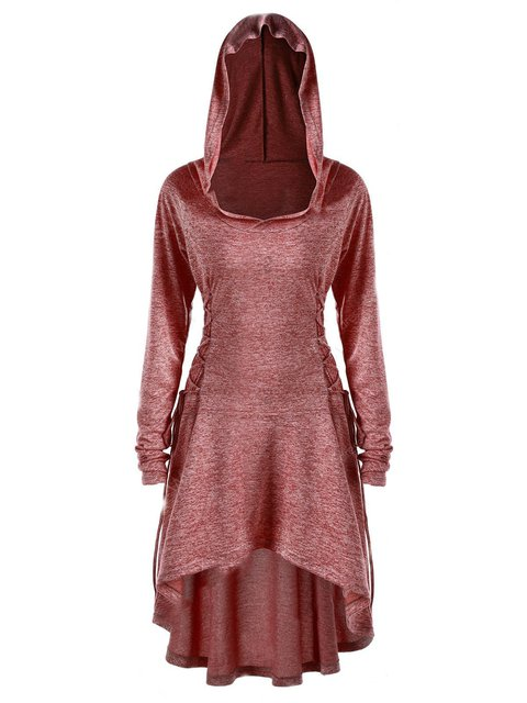 Hoodie Women Casual Dresses Swing Date Cotton Paneled Dresses