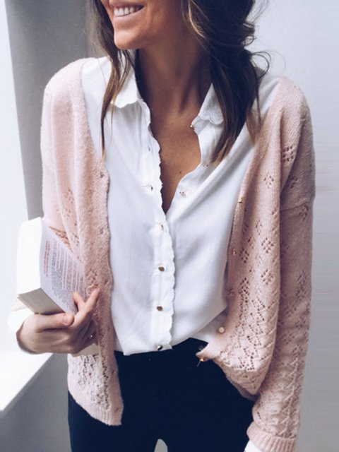 Solid Cutout Casual Sweater