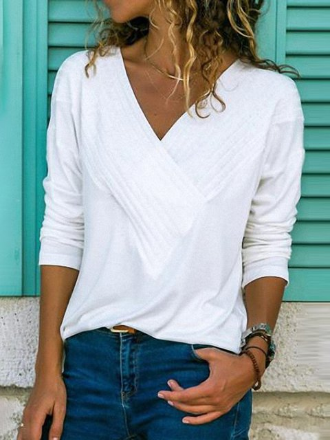 Long Sleeve Elegant Paneled V Neck Blouse
