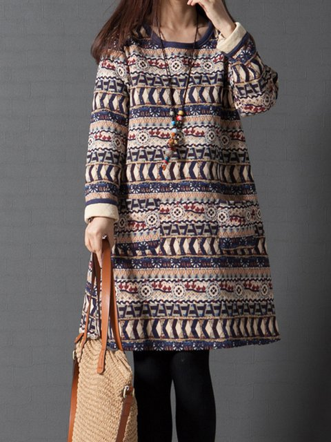 Crew Neck Women Casual Dresses Shift Daily Cotton Tribal Dresses