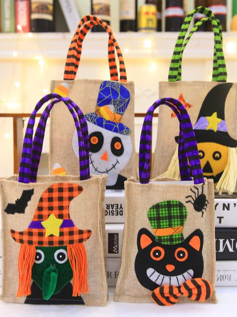 New Halloween Decorations Cookies Apple Tote Bags Ghost Festival Candy Burlap Gift Bag