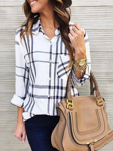 White Shirt Collar Long Sleeve Blouses