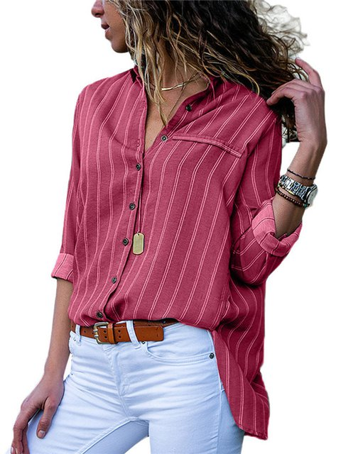 Shirt Collar Printed Striped Long Sleeve Blouses