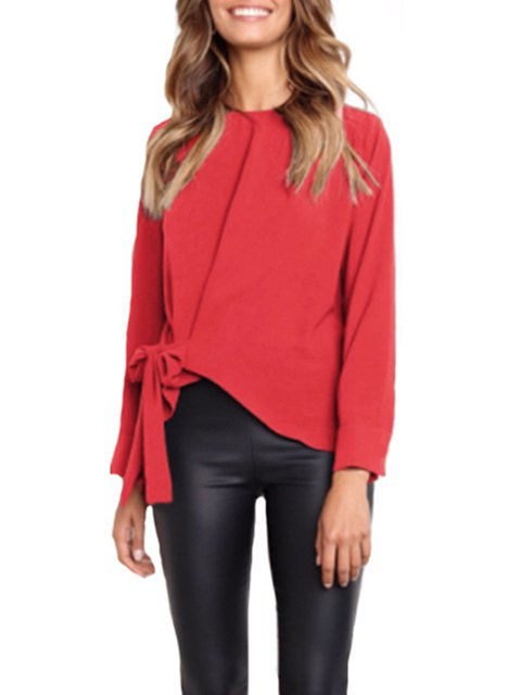 Solid Bow Elegant Cotton Blouses