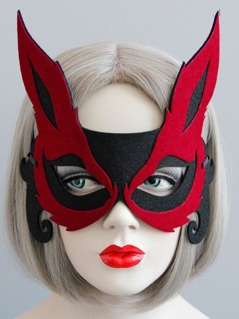 Fox Half Face Mask Halloween Party Ornament