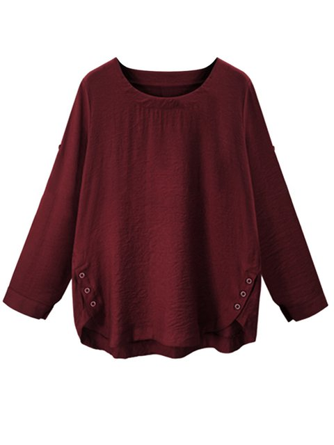 Solid Casual Long Sleeve Blouses