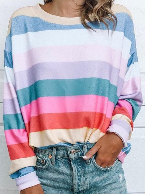 Crew Neck Vintage Striped Long Sleeve T-Shirts