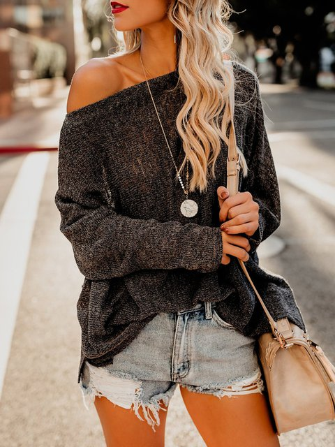 Long Sleeve Cotton-Blend See-Through Look Sweaters