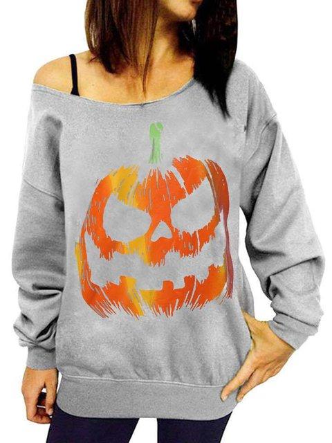 Halloween Long Sleeve Street Offf-Shoulder Pumpkin Printed T-shirt