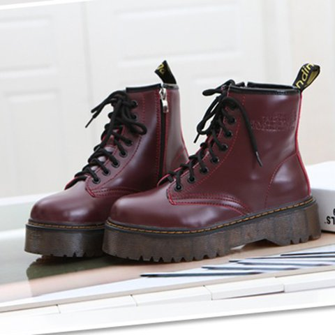 46b66fbc336 Justfashionnow Women s Boots Wedge Heel Round Toe Wine Red Lace-Up Boots