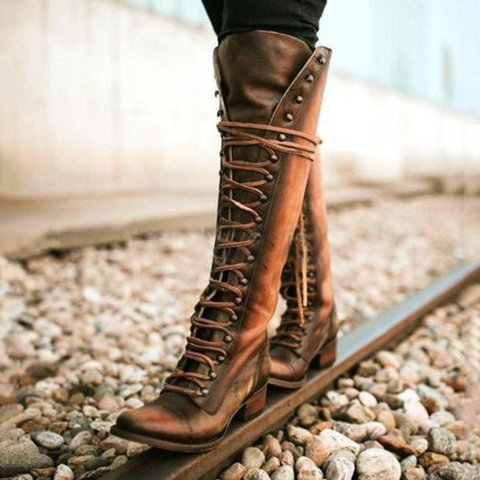Vintage Lace-up Knee-high Boots Holiday Pu Boots