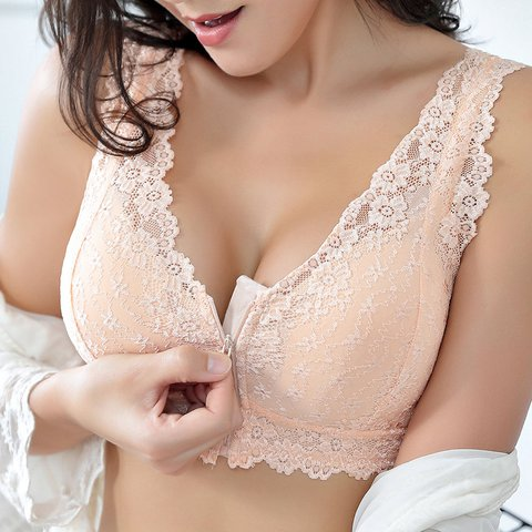 Front Zipper Soft Cotton Lining Gather Sexy Lace Wireless Bras