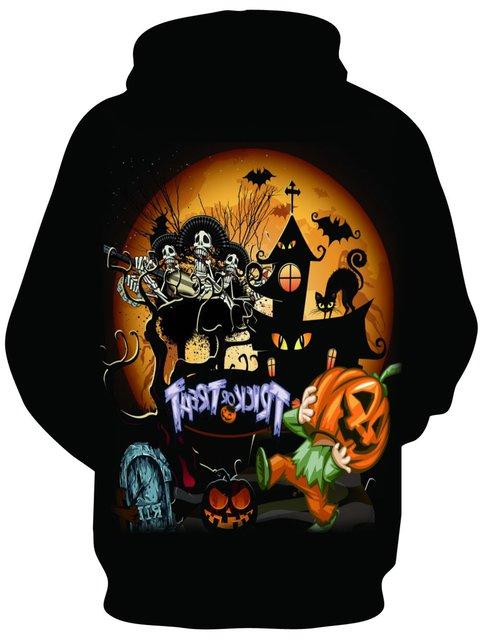 Halloween Long Sleeve Animal Printed Casual Hoodie