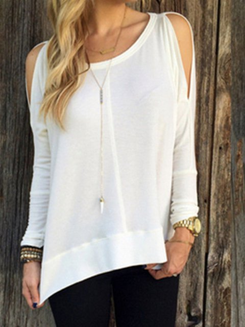 Long Sleeve Cold Shoulder Solid T-Shirts
