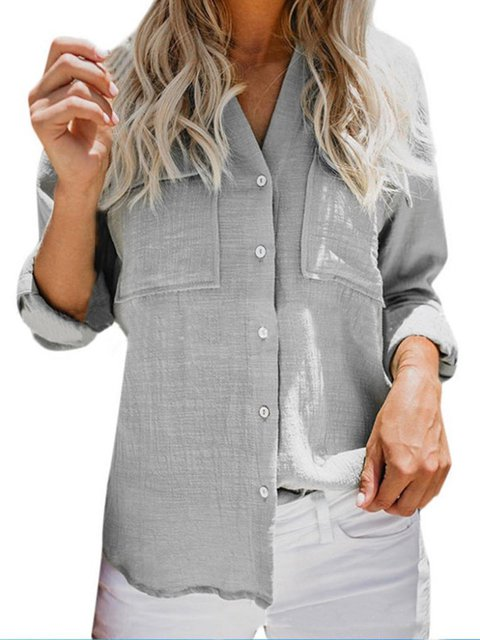 Solid V Neck Linen Long Sleeve Shirt