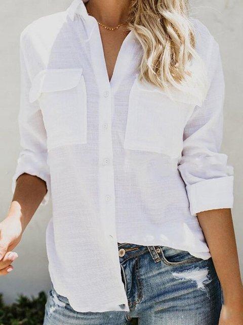 Solid V Neck Linen Long Sleeve Shirt