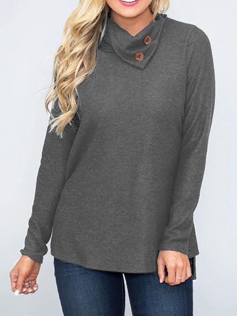Solid Long Sleeve Buttoned Knitted Blouse