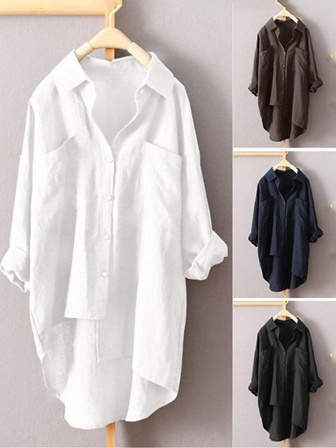 Shirt Collar Casual Pockets Long Sleeve Shirt