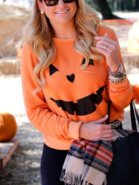 Long Sleeve Crew Neck Pumpkin Printed Halloween Sweatshirts