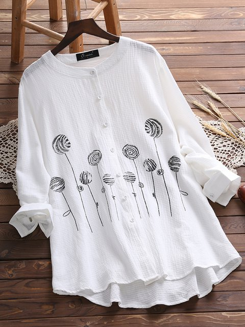 Long Sleeve Buttoned Sweet Crew Neck Blouses