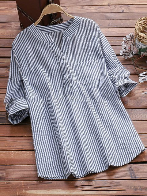 52879b3a612e Casual Long Sleeve V Neck Cotton Shirts & Blouses - JustFashionNow.com