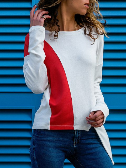 Long Sleeve Color-Block Solid Crew Neck T-Shirts