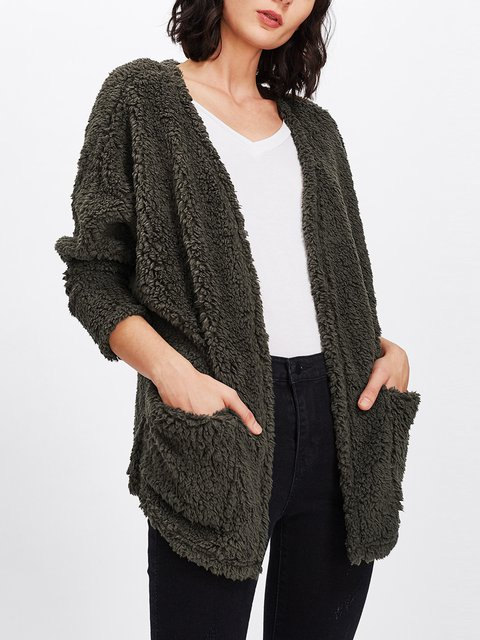 Solid Long Sleeve Pockets Cashmere Cardigans