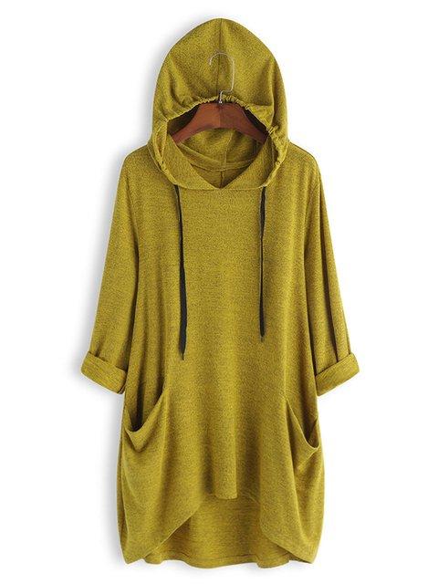 Solid Long Sleeve Paneled Hoodie