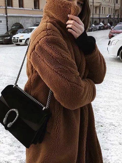 Brown Buttoned Long Sleeve Teddy Bear Winter Coats