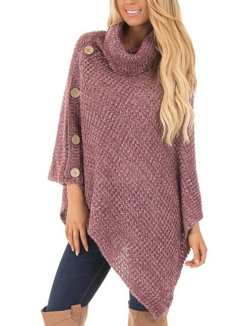 Cowl Neck Casual Long Sleeve Plain Sweaters