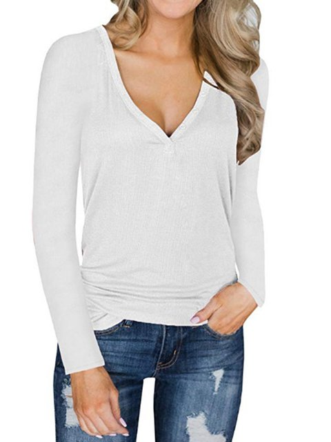 Long Sleeve Buttoned Simple & Basic V Neck T-Shirt