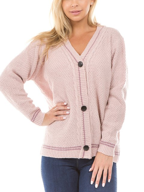 Long Sleeve Solid Paneled Knitted Sweaters