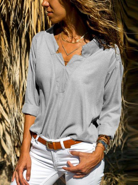 Long Sleeve Chiffon Buttoned Elegant Shirt