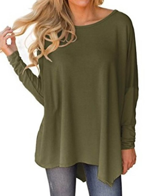 Solid Casual Cotton Long Sleeve T-Shirts