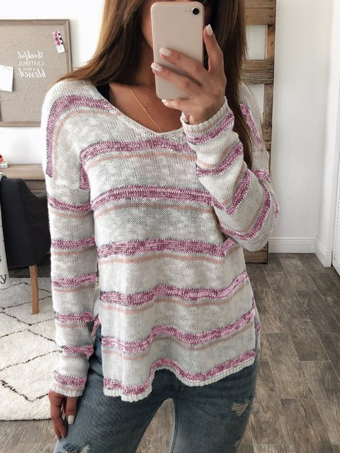 Casual Striped V Neck Sweater