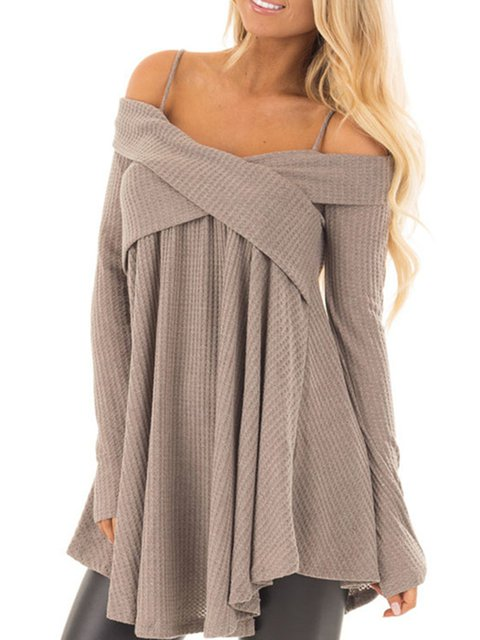 Solid Spaghetti Long Sleeve Knitted Sweaters