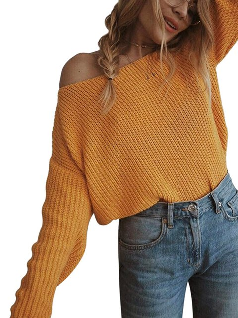 Sweet Knitted Solid One Shoulder Sweaters