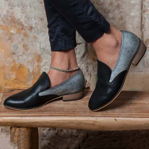 9a5a3e66dee4b Justfashionnow Women's Loafers Black Casual Round Toe Color Block ...