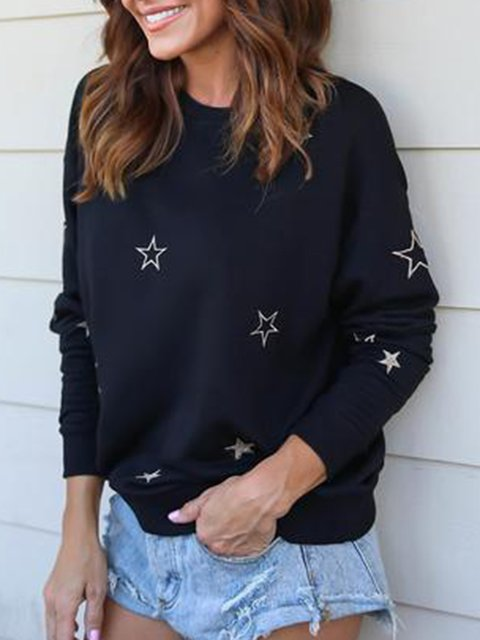Black Printed/dyed Casual Sweatshirts