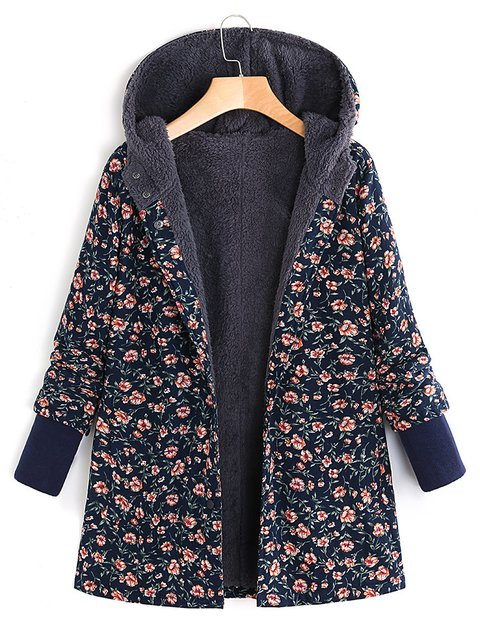 Floral Printed Hooded Long Sleeve Fleece Autumn Winter Coat