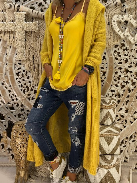 Knitted Cotton Casual Long Sleeve Cardigans