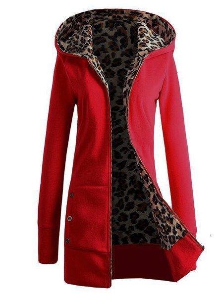 Zipper Leopard Print Casual Hoodie Coat