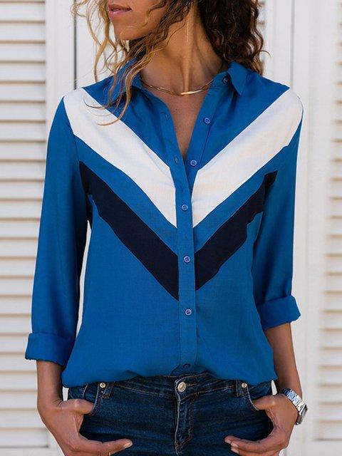 Striped Paneled Long Sleeve Shirt Collar Blouses