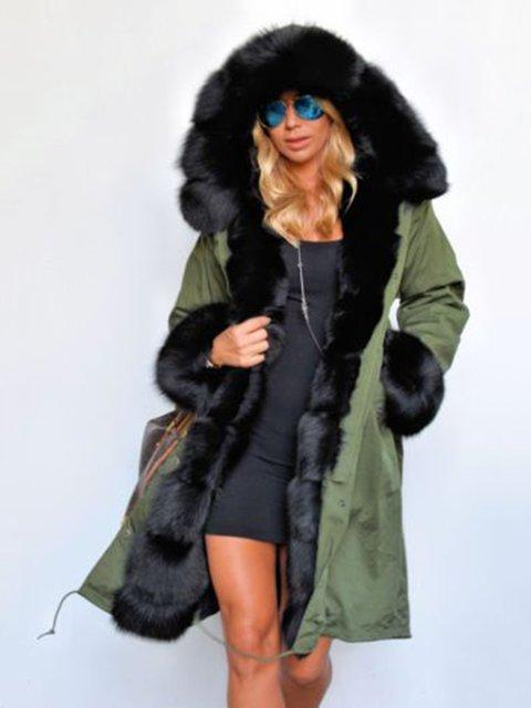 Warm Faux Fur Casual Hooded Coat