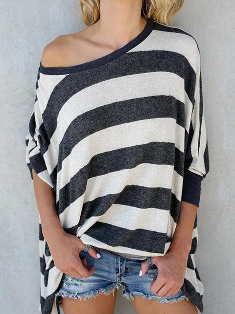Black Striped Printed Casual Cotton T-Shirts