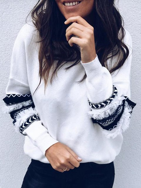 Long Sleeve Crew Neck Sweert Knitted Fringed Winter Sweaters