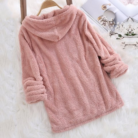 Fuzzy Hooded Long Sleeve Solid Sweater