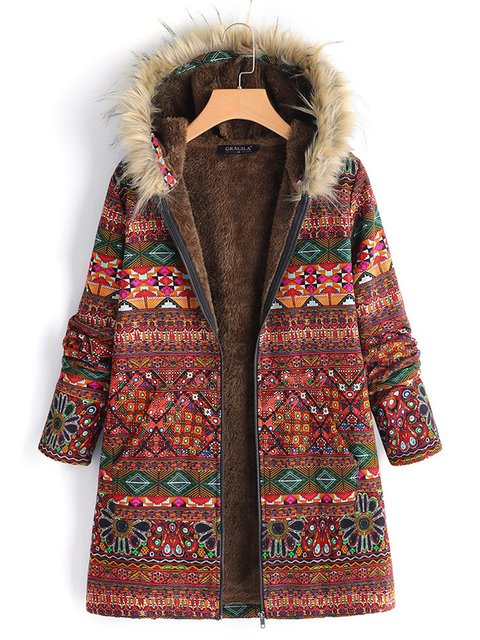 Ethnic Printed Faux Fur Hooded Fleece Autumn Winter Teddy Bear Coat
