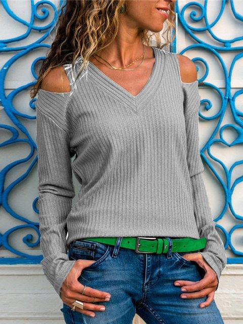 V Neck Cotton Cold Shoulder Vintage Long Sleeve Sweaters
