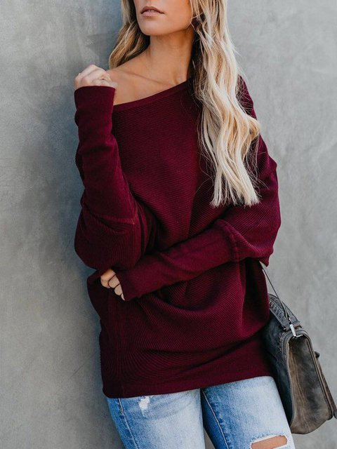 Long Sleeve Knitted One Shoulder Sweaters